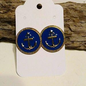 Nwt Blue Anchor Pierced  Earrings